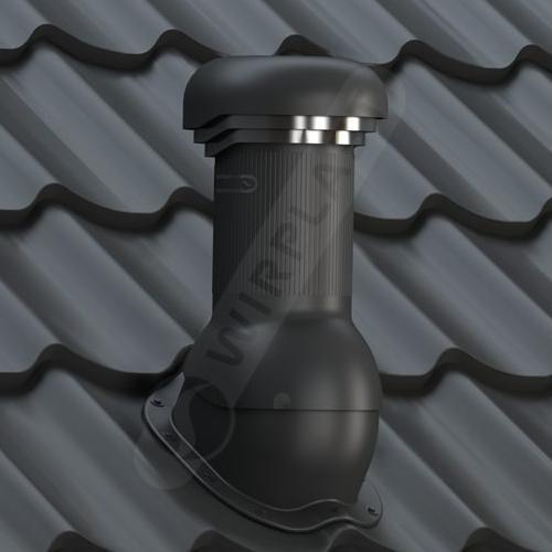 kominek, wentylator dachowy zodpływem kondensatu czarny