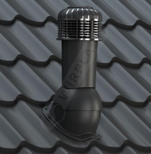 wentylator dachowy zodpływem kondensatu czarny